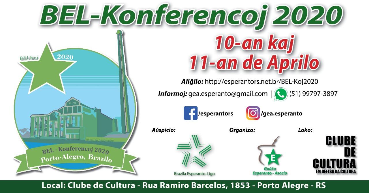 Conférences 2020 de la Ligue brésilienne d'espéranto à Porto Alegre (Brésil), 9-10 avril 2020