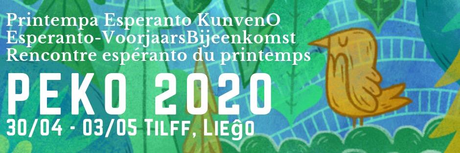 PEKO, Rencontre belge d'espéranto de printemps, 30 avril - 3 mai 2020, à Tilff