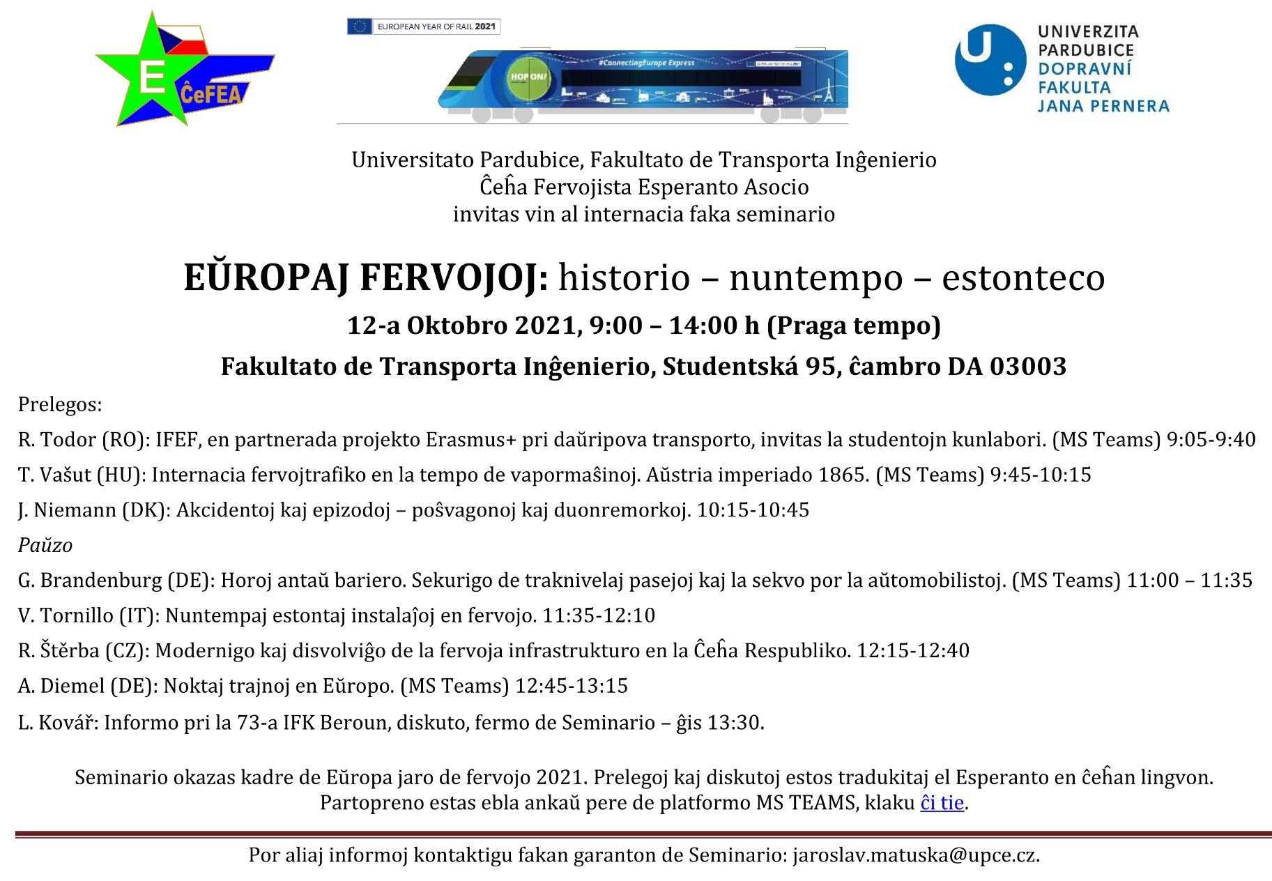 Alklaku la bildeton por vidi la programon ! - Faka Seminario en Pardubice 2021-okt-12