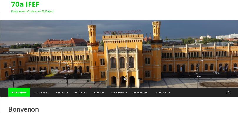 Propra retejo de la IFEF-kongreso en Vroclavo 19-25ajn de majo 2018